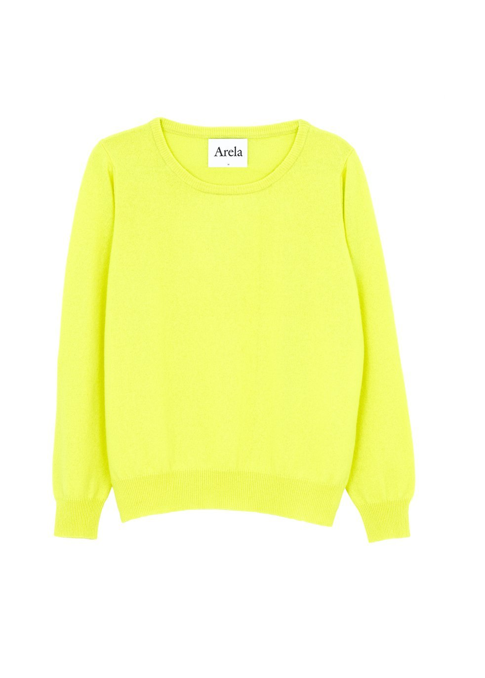 ARELA Laine Cashmere Sweater In Bright Yellow