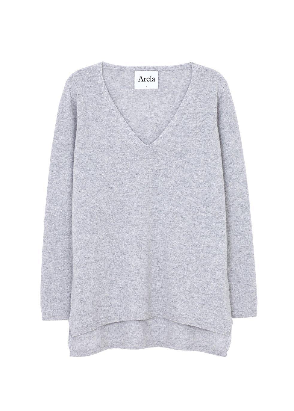 ARELA Vija Cashmere Sweater In Light Grey