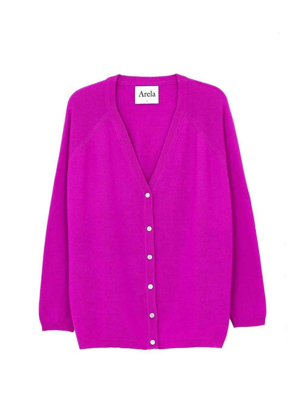 ARELA Jill Cardigan In Bright Pink