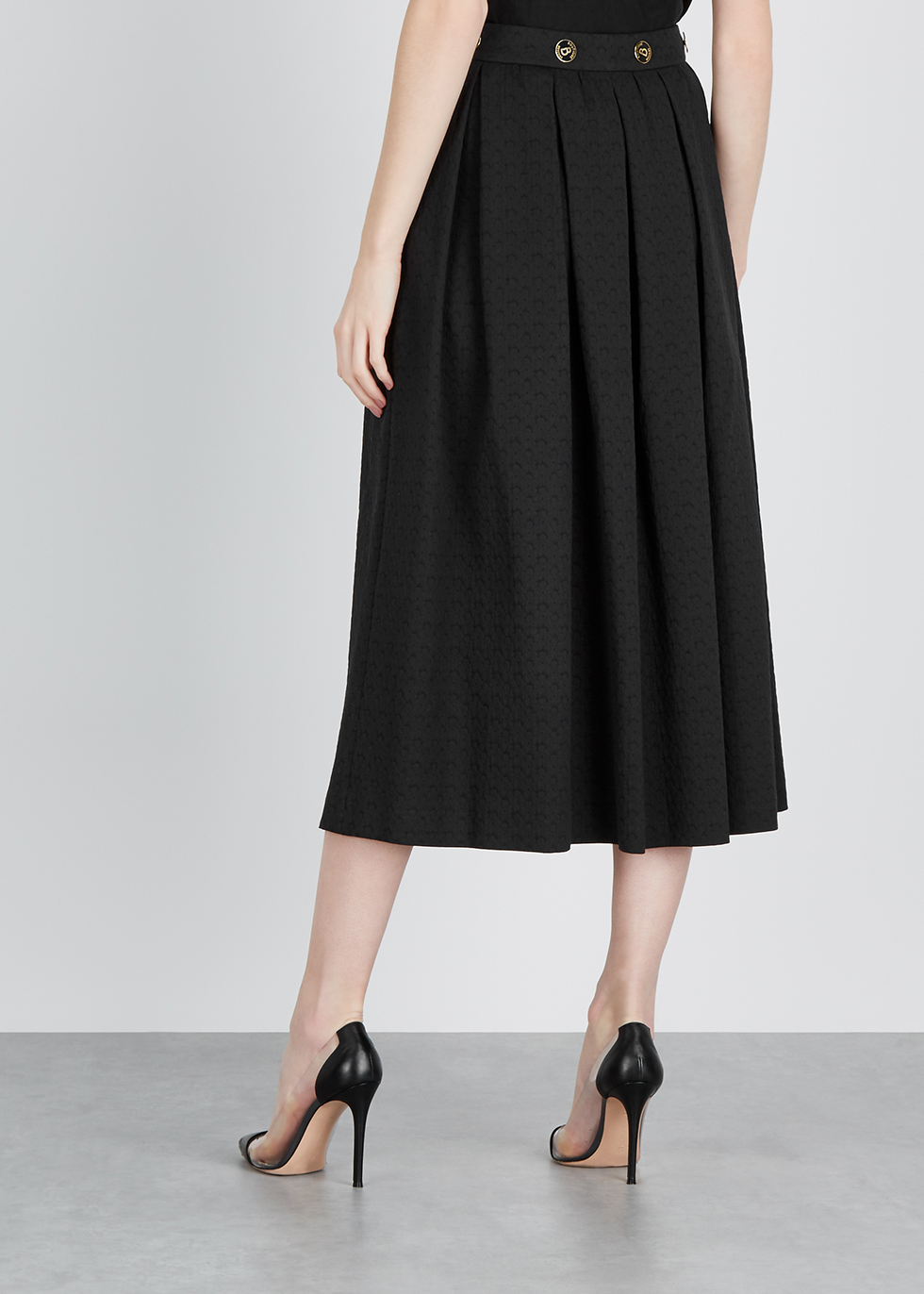 Black pleated jacquard skirt - Boutique Moschino