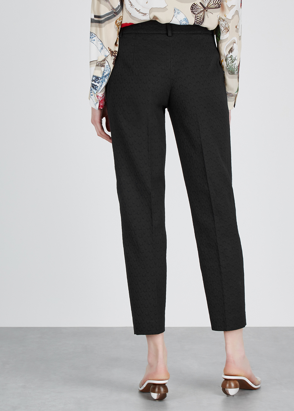 Black slim-leg cotton-jacquard trousers - Boutique Moschino