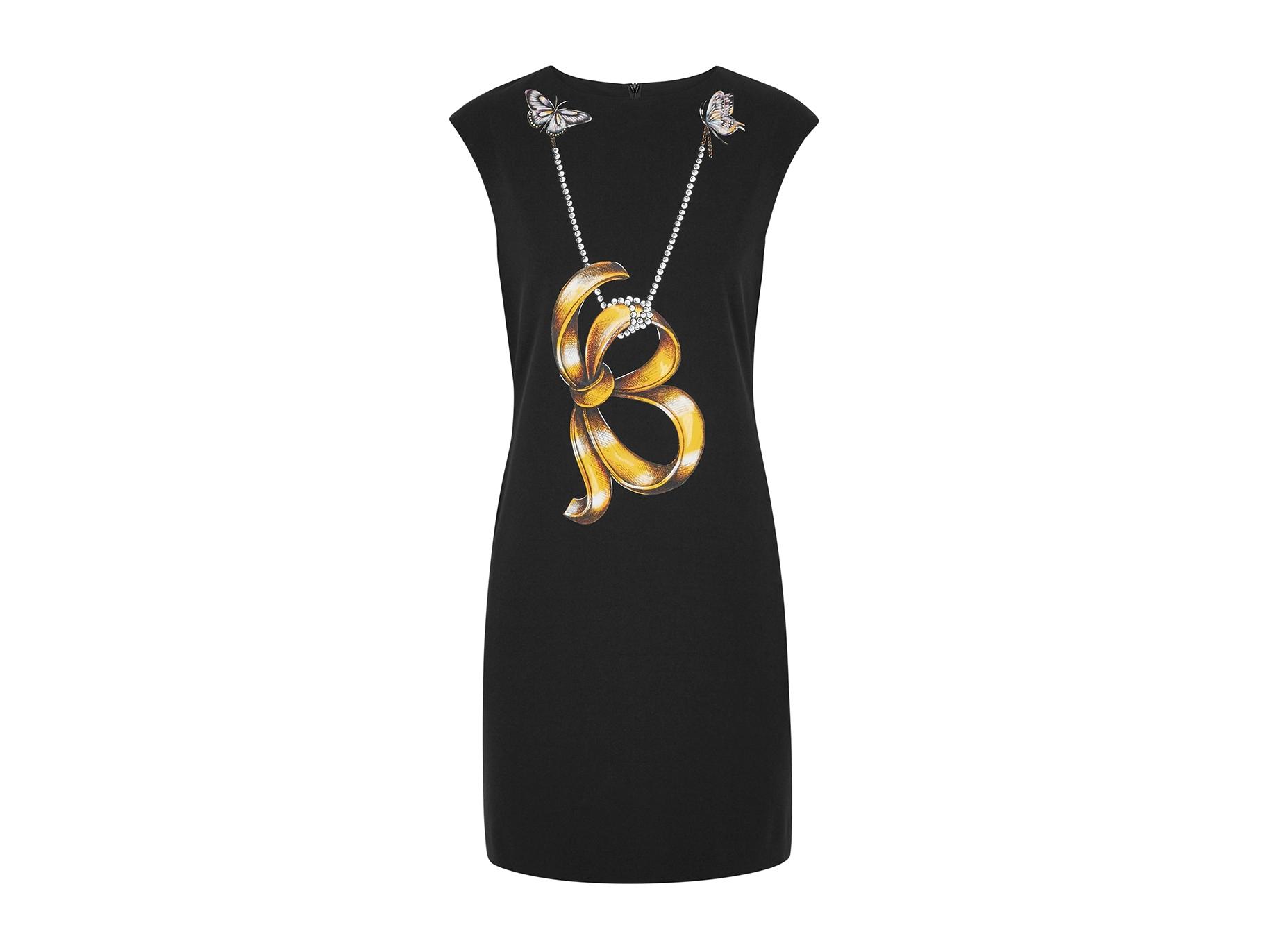 db5af4139f Boutique Moschino Black printed shift dress - Harvey Nichols