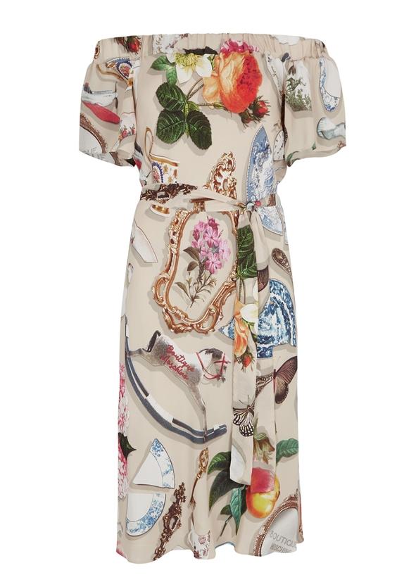 1449851374 Printed off-the-shoulder dress ...