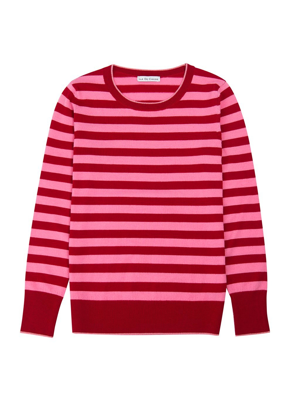 ILLE DE COCOS Ille De Cocos Merino Stripe Sweater - Cherry Red- Flamingo