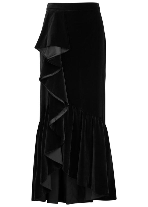 41f2d3eb52 Arianna ruffled velvet midi skirt ...
