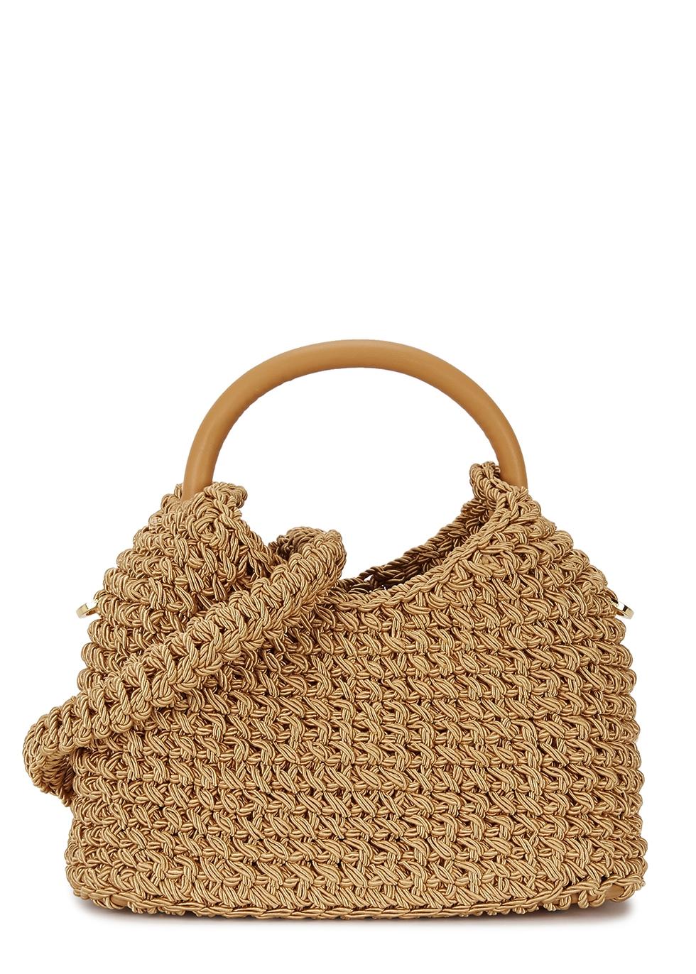 ELLEME Gold Woven Rope Shoulder Bag in Tan