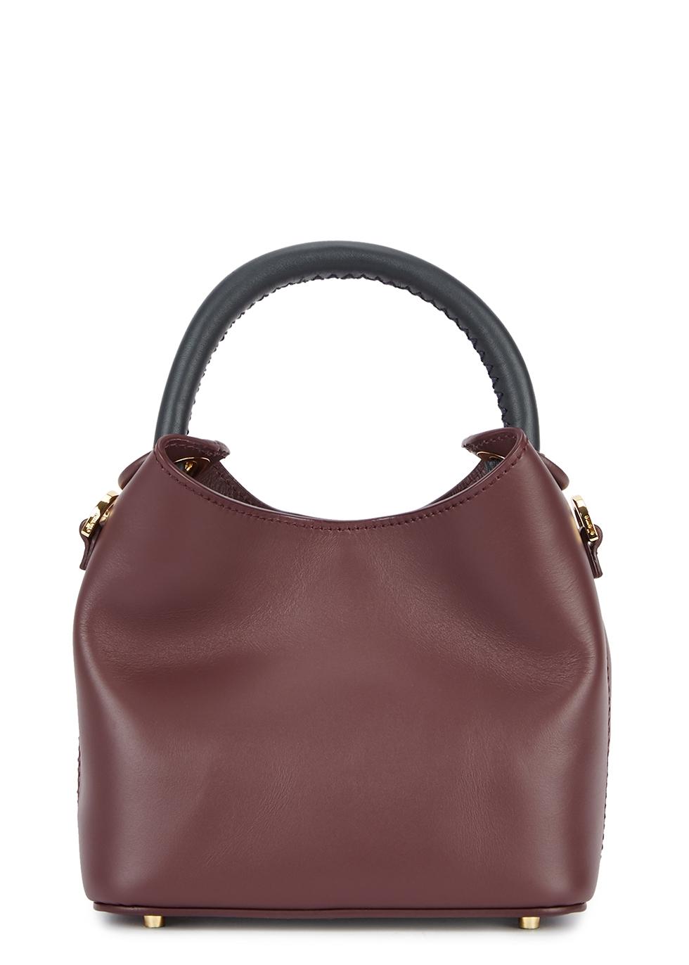 ELLEME Madeleine Mini Leather Cross-Body Bag in Burgundy