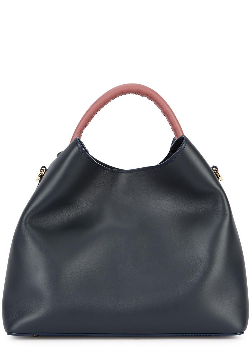 ELLEME Raisin Navy Leather Shoulder Bag