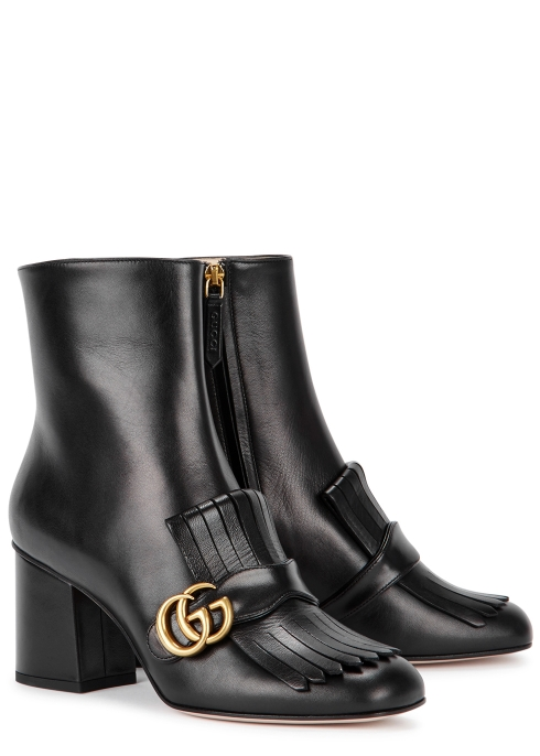 d9a6244c586 Gucci GG Marmont 75 black leather ankle boots - Harvey Nichols