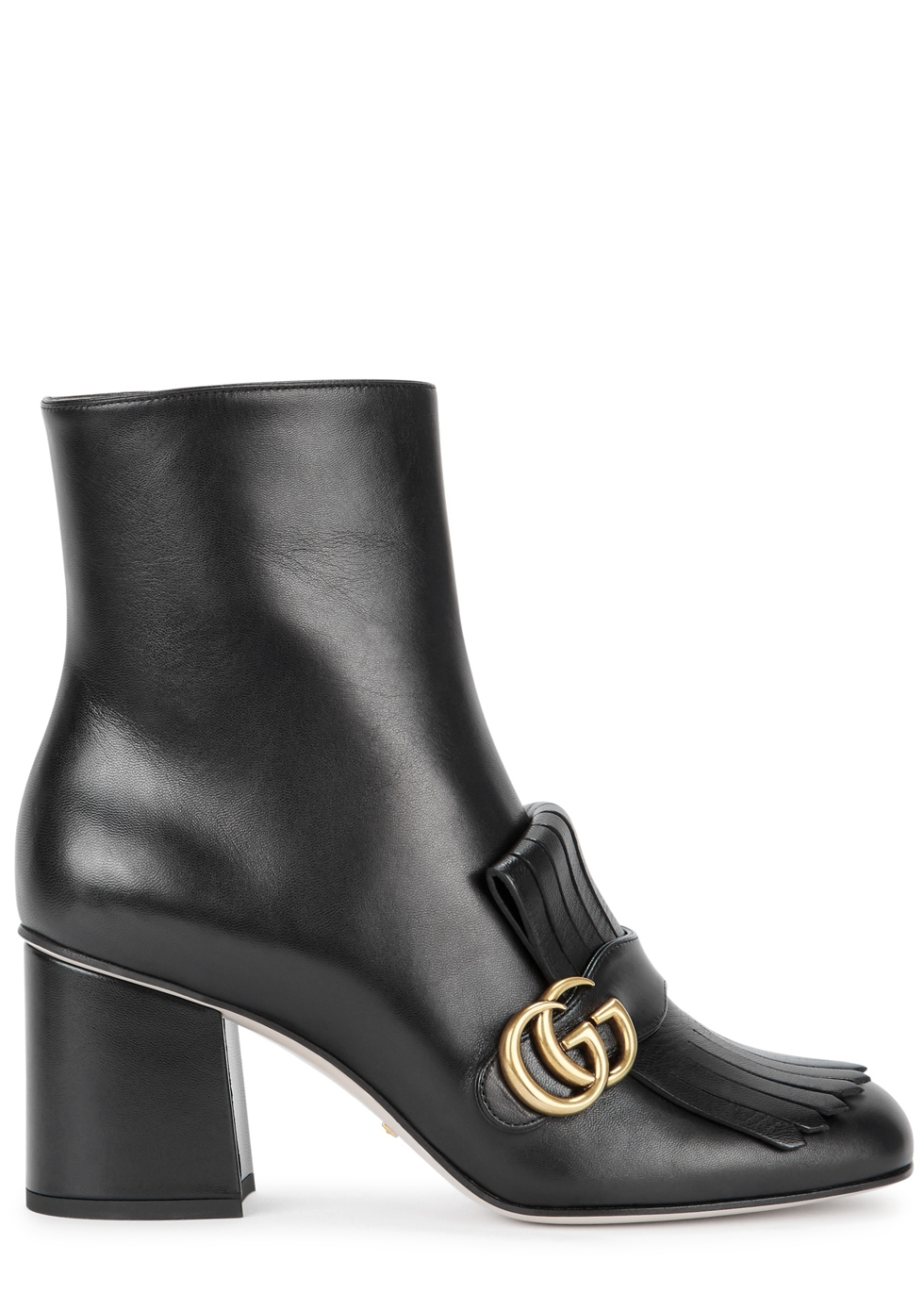 GG Marmont 75 black leather ankle boots