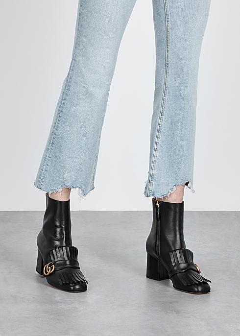 e1423fad4c40 Gucci GG Marmont 75 black leather ankle boots - Harvey Nichols