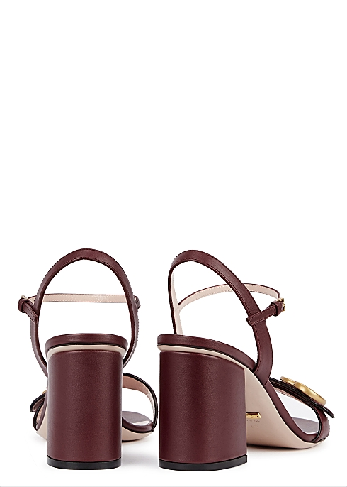 b4808eeb5 Gucci GG Marmont 75 bordeaux leather sandals - Harvey Nichols
