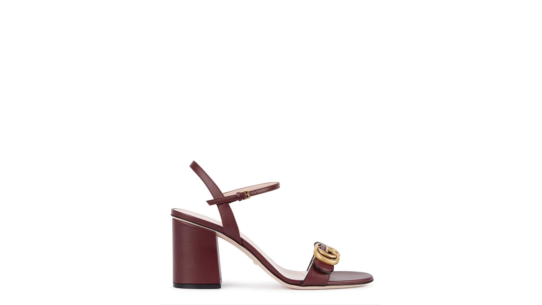 d8e98d69c4a Gucci GG Marmont 75 bordeaux leather sandals - Harvey Nichols