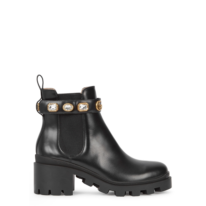 Gucci Trip Crystal-Embellished Leather Chelsea Boots In Black