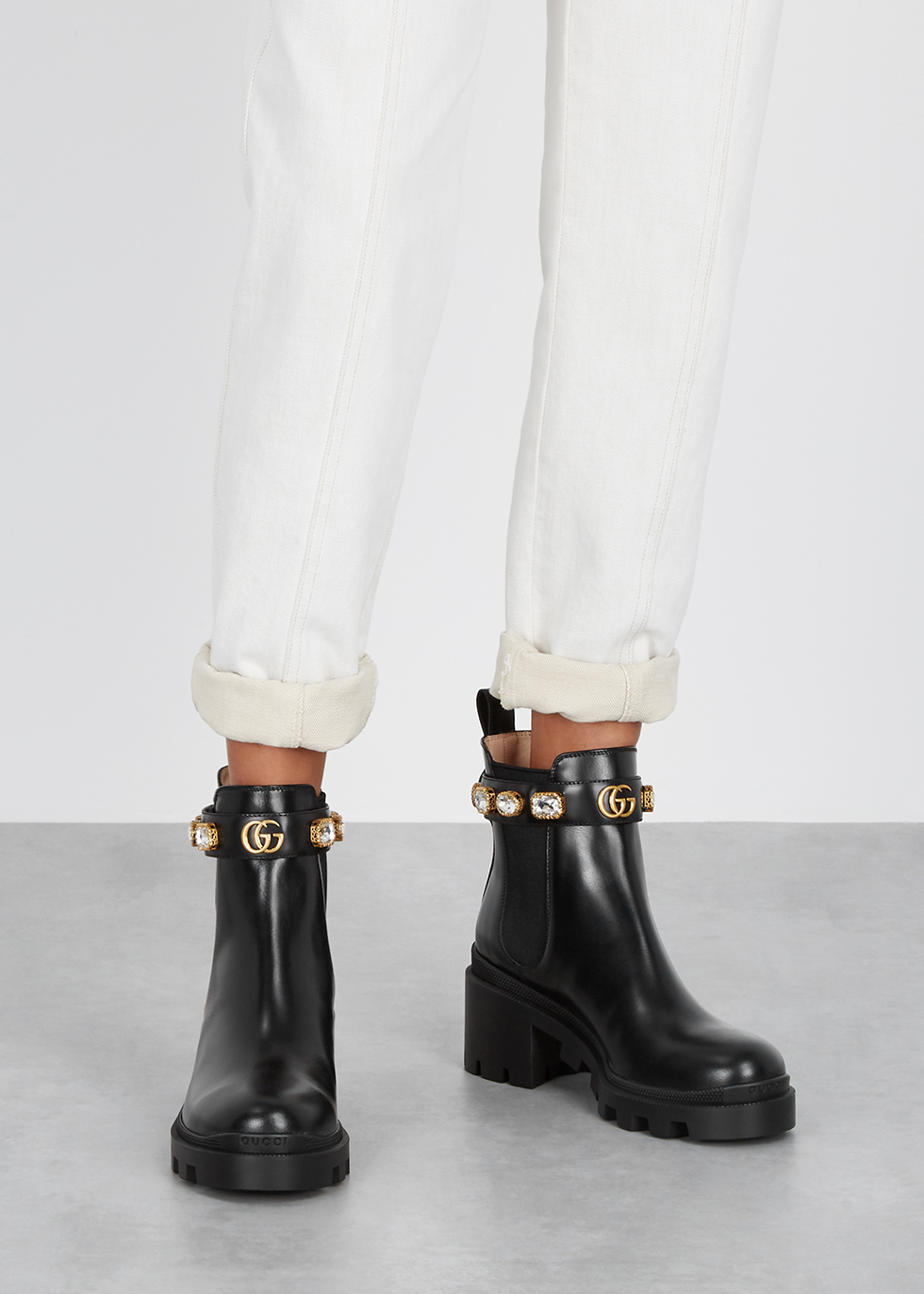 Gucci 75 embellished leather Chelsea