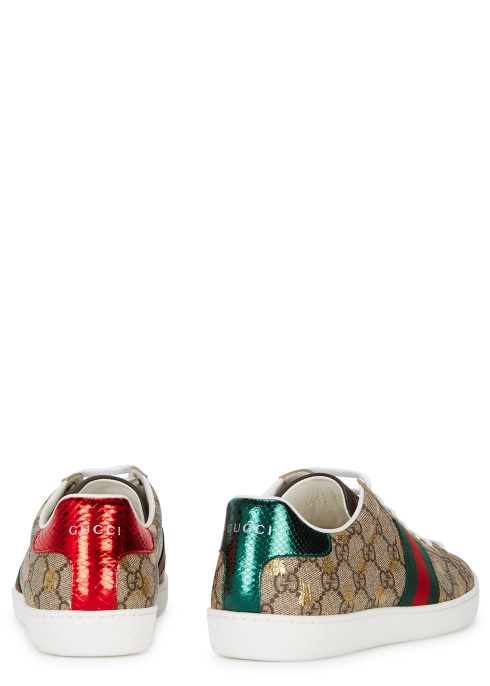 9ab34f72f3a Gucci New Ace GG Supreme bee-print trainers - Harvey Nichols