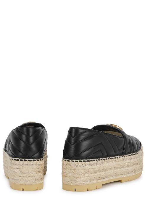227f335e57d Gucci GG 50 black leather espadrilles - Harvey Nichols