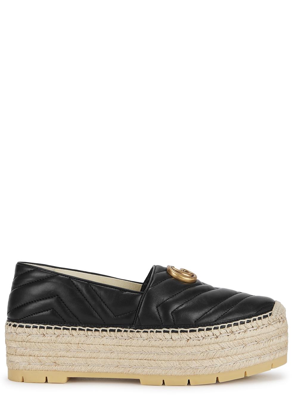 100ed898e792 Gucci GG 50 black leather espadrilles - Harvey Nichols