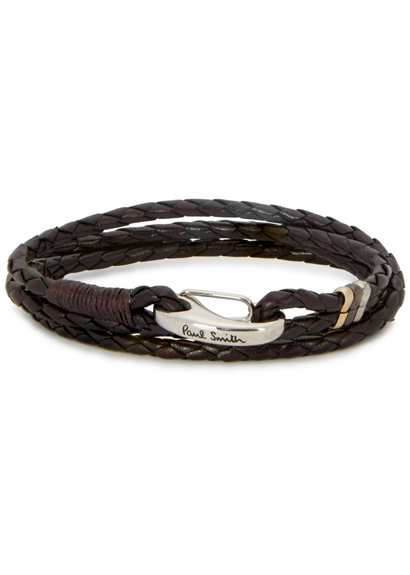 Dark Brown Braided Leather Wrap Bracelet
