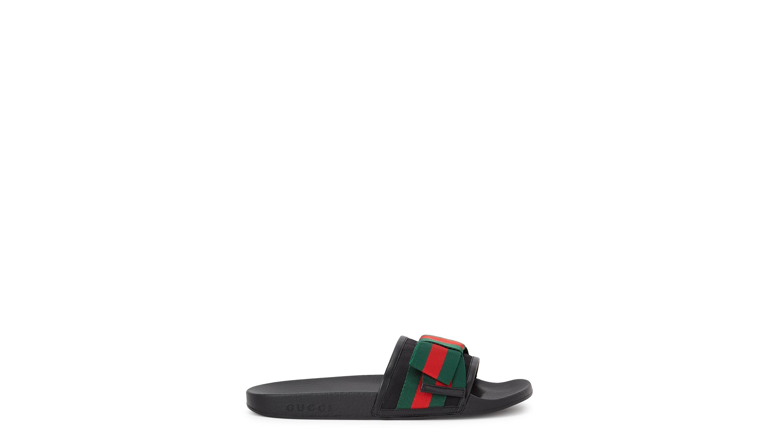 bfbbee27794e Gucci Pursuit signature-striped satin sliders - Harvey Nichols