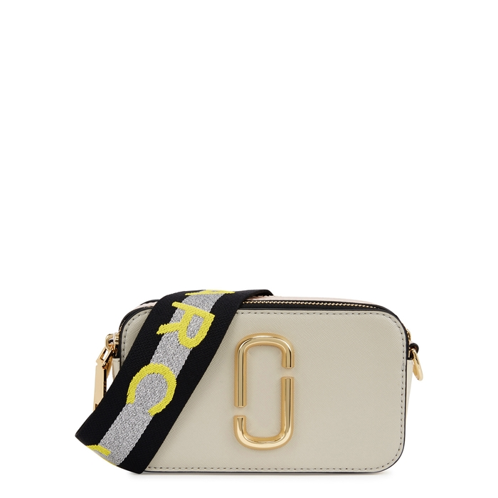 Marc Jacobs Snapshot White Leather Shoulder Bag In Dust Multi