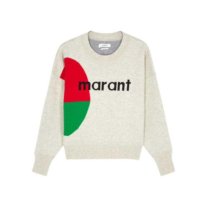 ETOILE ISABEL MARANT Korbin cream logo-intarsia jumper