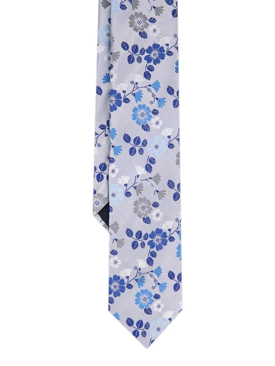 DUCHAMP LONDON White Mirage Floral Silk Tie