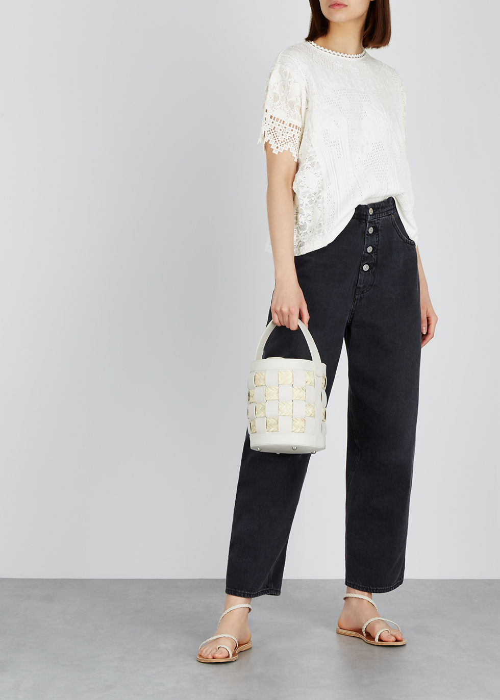 White stretch-knit top - HIGH
