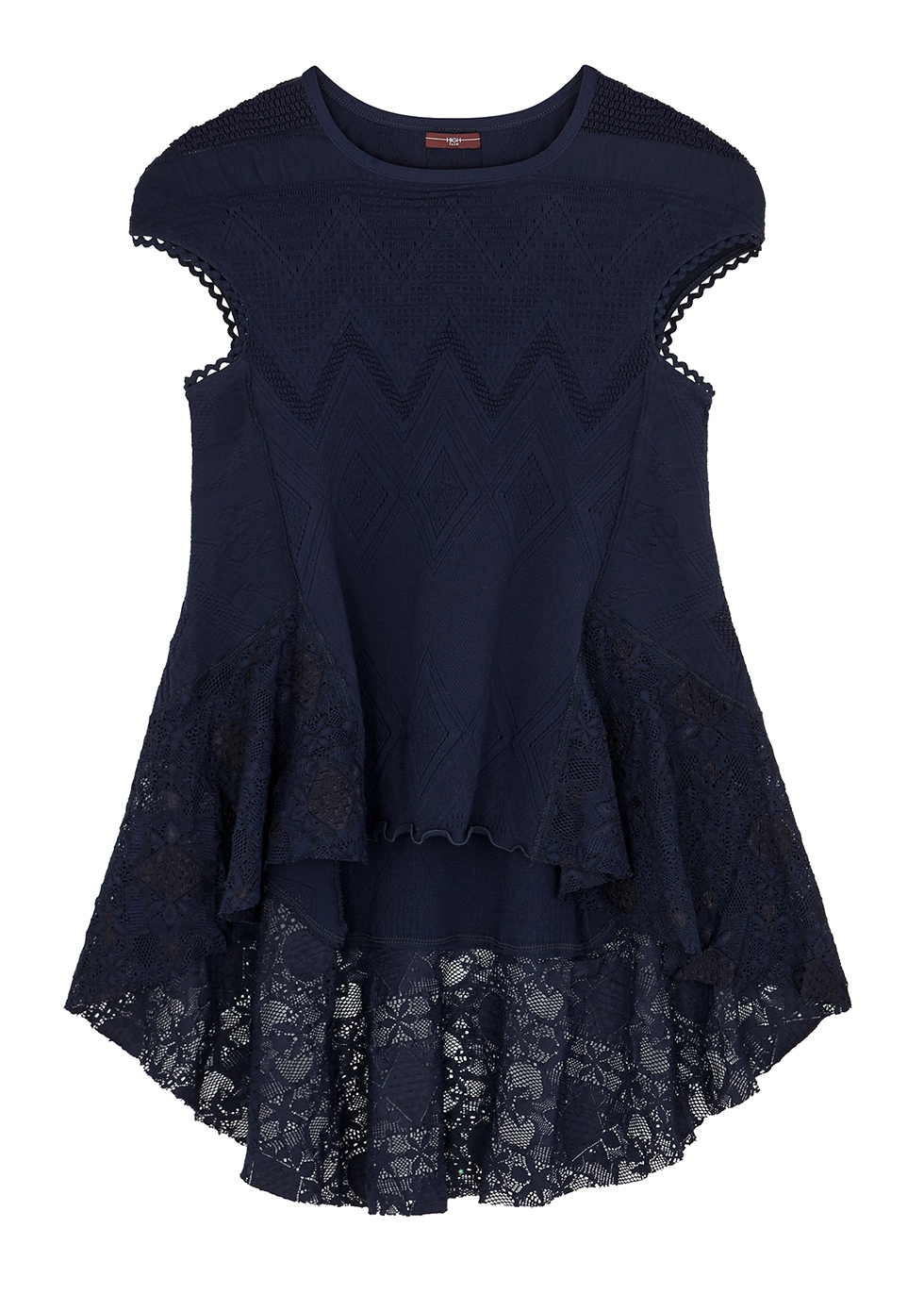 Excite navy stretch-knit top - HIGH
