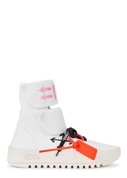 d1c459a47d08 Off-White Moto white knitted hi-top trainers - Harvey Nichols