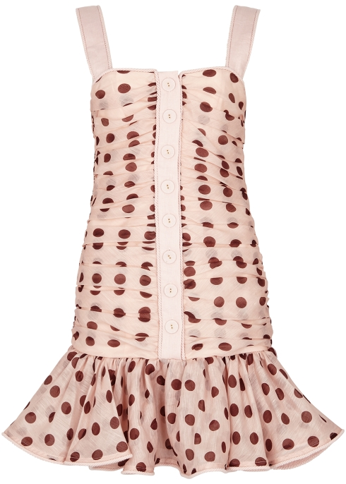 9c62cb7e02a Zimmermann Corsage polka-dot linen-blend mini dress - Harvey Nichols