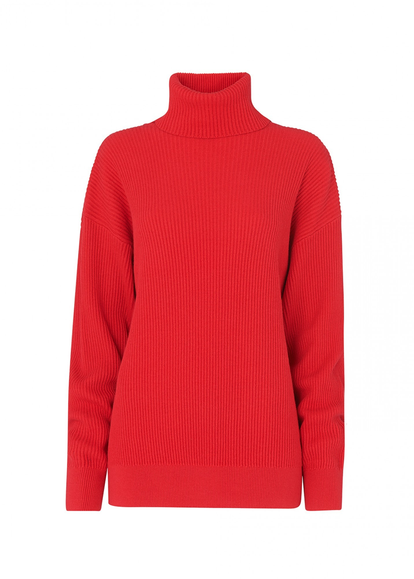 KITRI Mabel Cotton And Cashmere-Blend Turtleneck Sweater in Red
