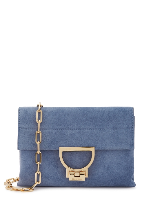 684b073d4a10 COCCINELLE Arlettis blue suede cross-body bag - Harvey Nichols