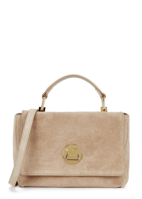 b9e834f285 COCCINELLE Liya taupe suede top handle bag - Harvey Nichols