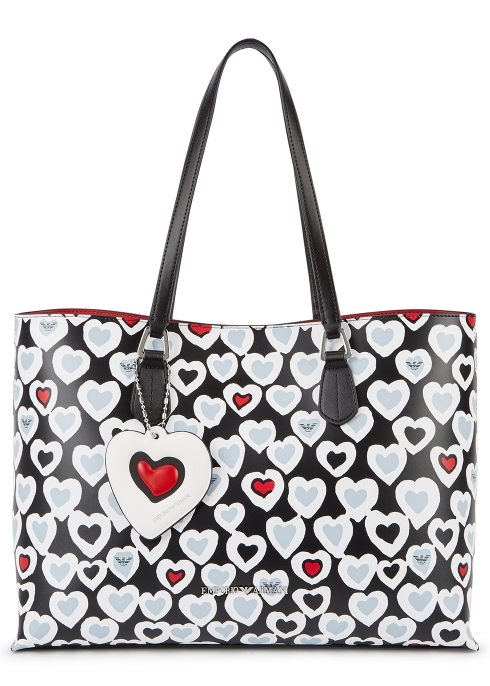 c7f492d0dc6c Emporio Armani Black heart-print leather tote - Harvey Nichols