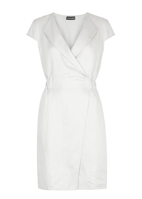 0fcd62ec8a4 Emporio Armani Stone linen wrap dress - Harvey Nichols
