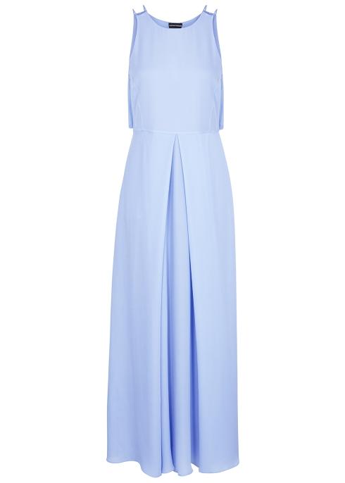 b112e33716d Emporio Armani Light blue silk georgette maxi dress - Harvey Nichols
