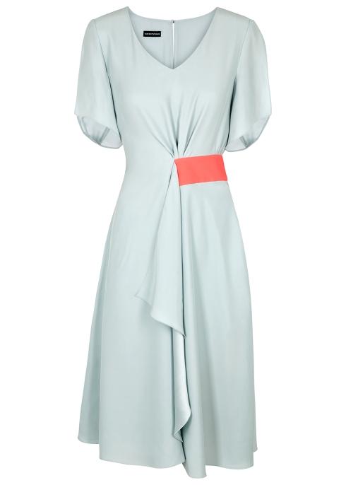 368f6e28ce8 Emporio Armani Two-tone silk satin midi dress - Harvey Nichols