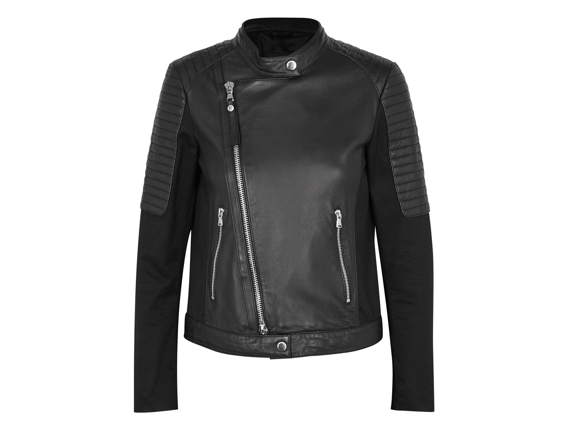 7704c6bfabb Emporio Armani Black leather biker jacket - Harvey Nichols