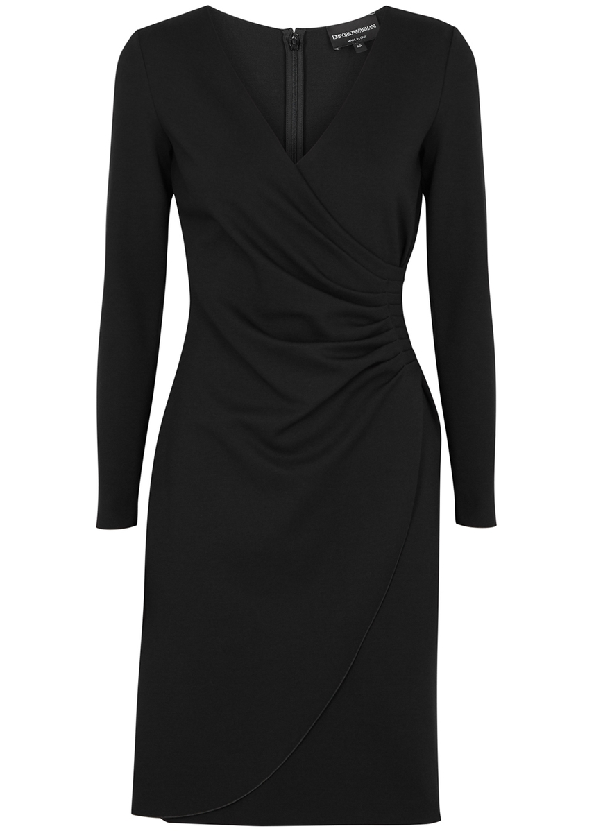 08b76b6ec2c Emporio Armani. Black wrap-effect stretch-knit dress