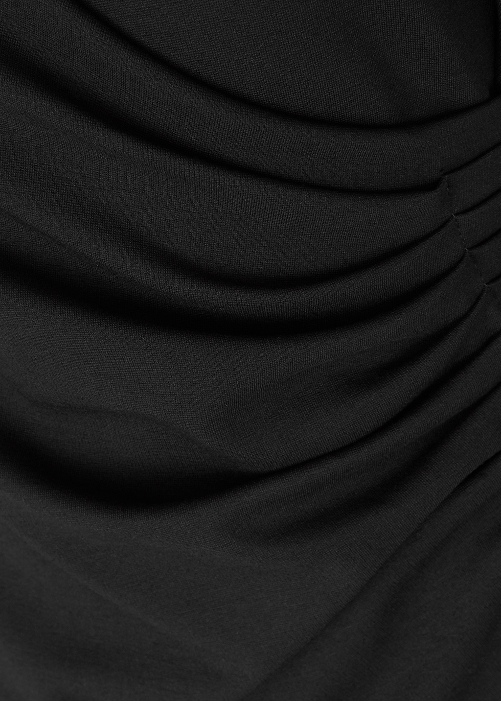 Black wrap-effect stretch-knit dress - Emporio Armani