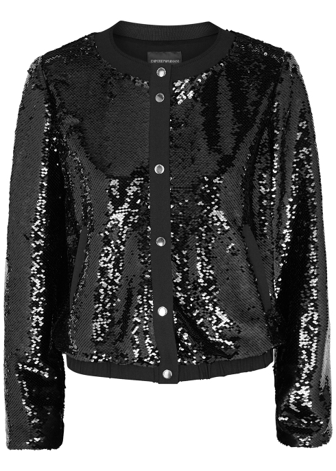 220b3a662ccb5 Emporio Armani Black sequinned bomber jacket - Harvey Nichols