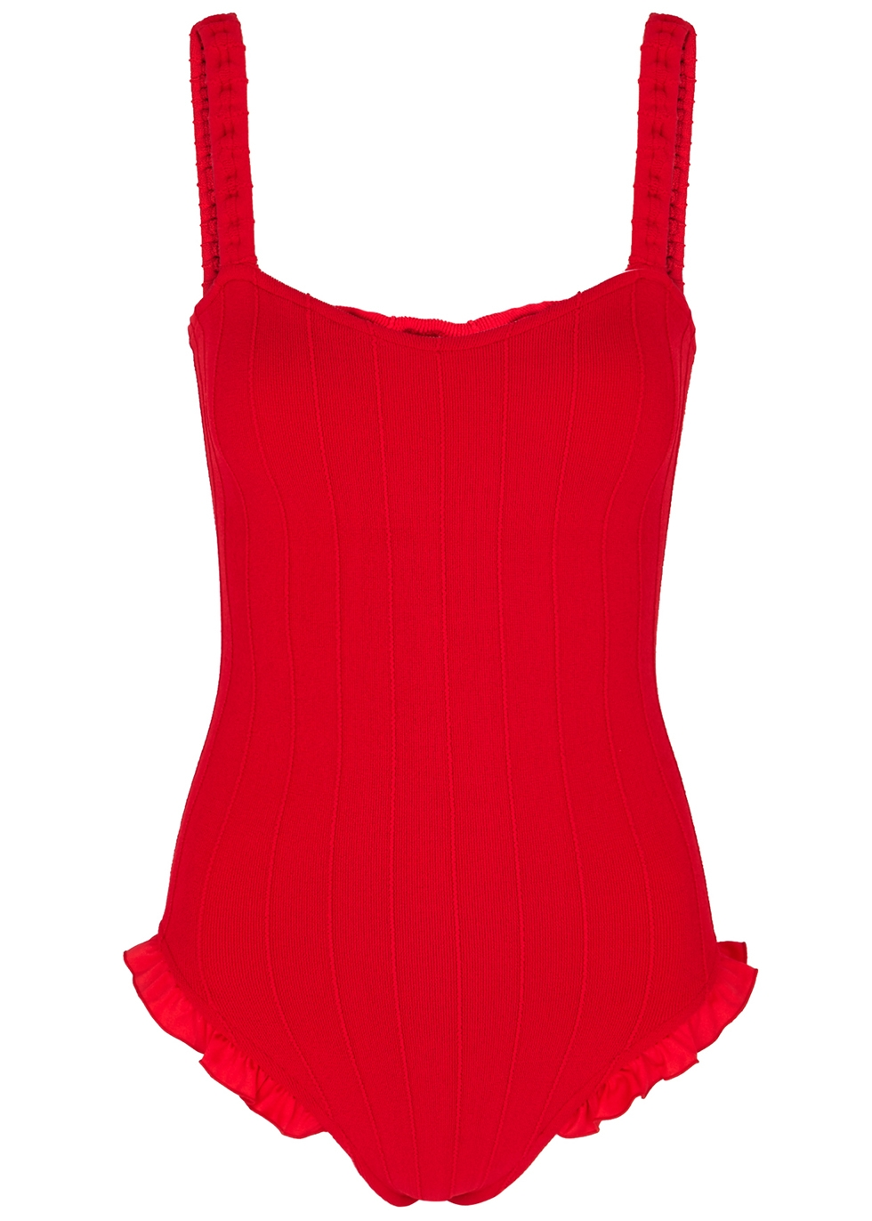 Tyit red ruffle-trimmed swimsuit - Hunza G