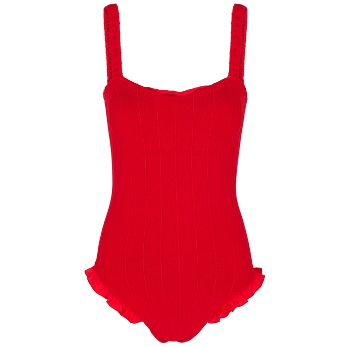 Hunza G Suits TYIT RED RUFFLE-TRIMMED SWIMSUIT