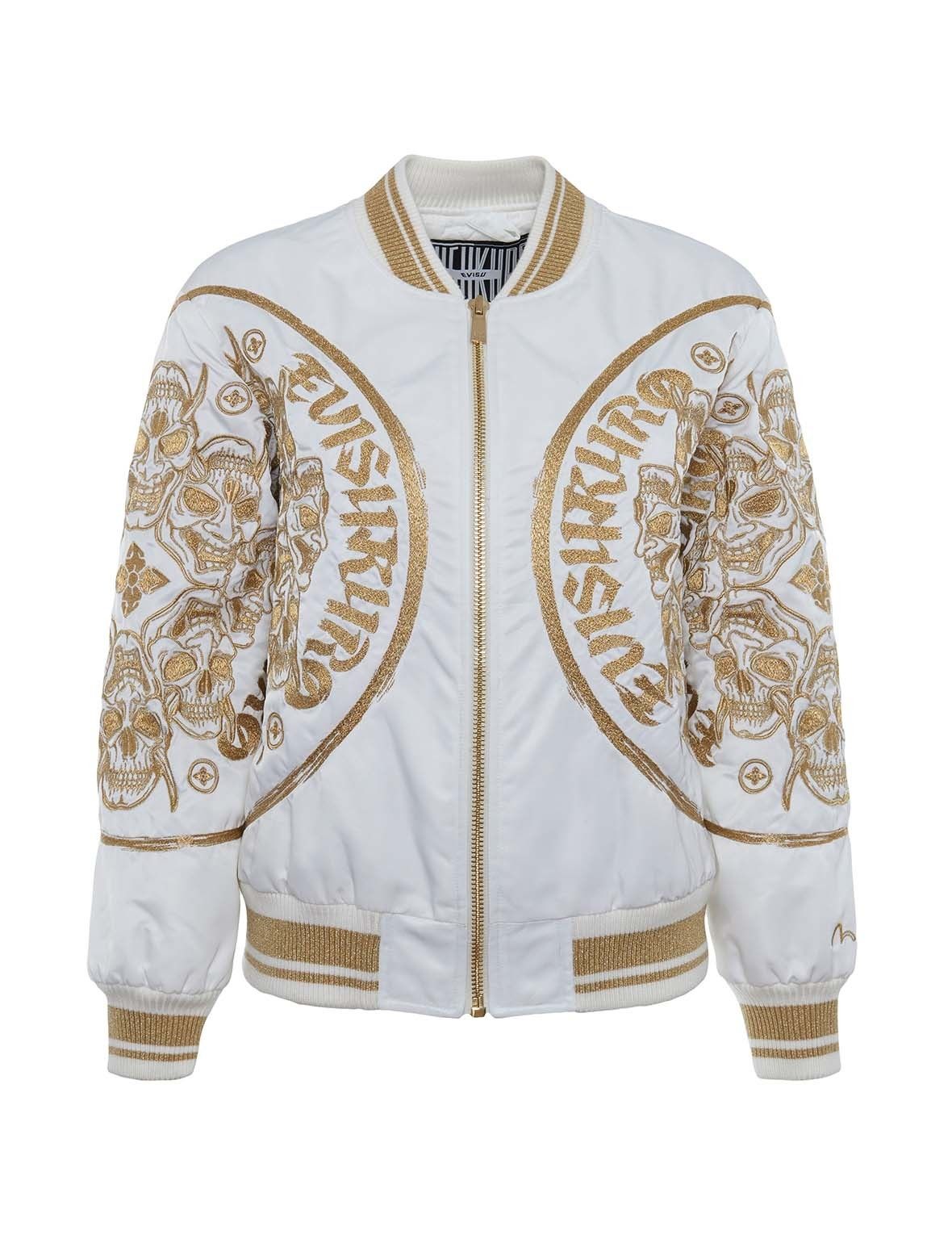 EVISU Padded Bomber Jacket With Hannya Skull Gold Embroidery