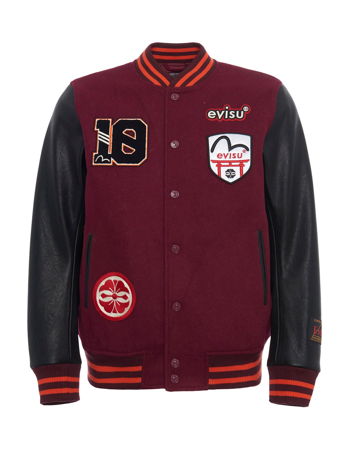 EVISU Multi Badges Color-Blocking Baseball Jacket