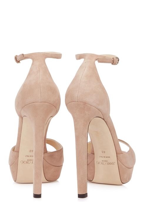 651bd8c7f42 Jimmy Choo Pattie 130 blush suede sandals - Harvey Nichols