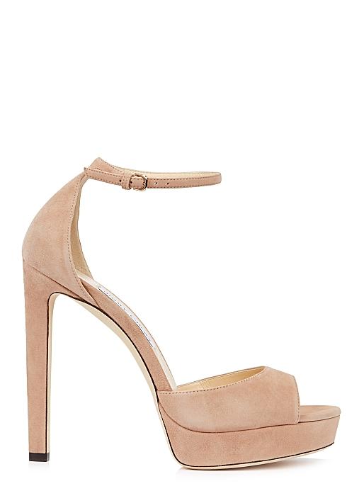e5cd00112 Jimmy Choo Pattie 130 blush suede sandals - Harvey Nichols