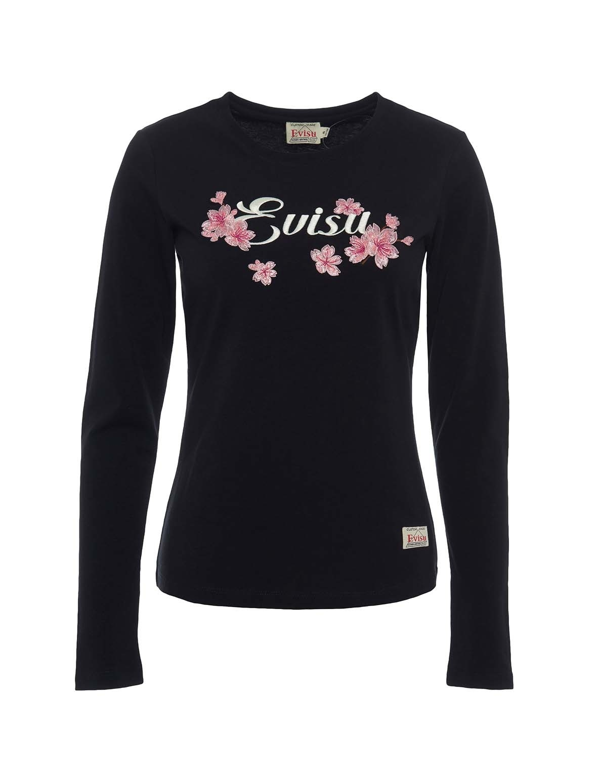 EVISU Sakura Embroidered Long-Sleeved T-Shirt