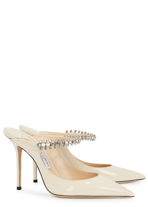 a792e67d182 Jimmy Choo Bing 100 ivory patent leather mules - Harvey Nichols